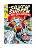 Marvel Comics Retro: Silver Surfer Comic Book Cover No.18, Against the Unbeatable Inhumans! Plastic Sign