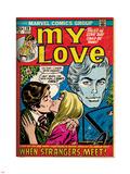 Marvel Comics Retro: My Love Comic Book Cover No.20, Kissing, When Strangers meet! (aged) Lepicí obraz na stěnu