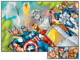 Onslaught Reborn No.5 Group: Captain America, Iron Man, Thor, Invisible Woman and Mr. Fantastic Posters by Rob Liefeld