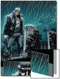 Secret Warriors No.24: Nick Fury Standing in the Rain at Night by a Tombstone Poster von Alessandro Vitti