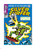 Marvel Comics Retro: Silver Surfer Comic Book Cover No.2, Fighting, When Lands the Saucer! Plastic Sign