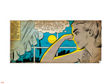 Marvel Comics Retro: Love Comic Panel, Alone at Window under Moonlight (aged) Veggoverføringsbilde