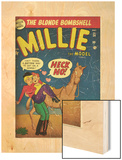 Marvel Comics Retro: Millie the Model Comic Book Cover No.34, Getting on a Horse (aged) Wood Print