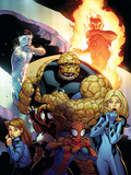 Ultimate Enemy No.1 Cover: Spider-Man, Invisible Woman, Spider Woman, Human Torch and Iceman Poster by Ed McGuinness