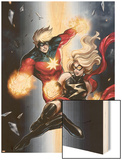 Ms. Marvel No.49 Cover: Ms. Marvel and Captain Marvel Wood Print by Sana Takeda