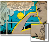 Marvel Comics Retro: Love Comic Panel, Alone at Window under Moonlight (aged) Posters