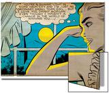Marvel Comics Retro: Love Comic Panel, Alone at Window under Moonlight (aged) Prints