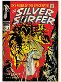 Marvel Comics Retro: Silver Surfer Comic Book Cover No.3, Fighting Mephisto (aged) Prints