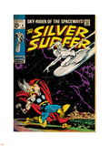 Marvel Comics Retro: Silver Surfer Comic Book Cover No.4, Thor (aged) Plastic Sign