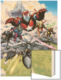 Siege No.1 Group: Iron Patriot, Hawkeye, Ms. Marvel, Wolverine, Spider-Man and Ares Wood Print by Olivier Coipel