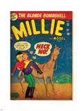 Marvel Comics Retro: Millie the Model Comic Book Cover No.34, Getting on a Horse (aged) Plastskilt