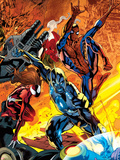 Ultimate Doom No.2 Cover: Captain Marvel, Spider-Man, and Spider Woman Fighting Plastic Sign by Bryan Hitch