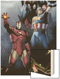 Siege No.1 Cover: Iron Man, Captain America and Thor Wood Print by Olivier Coipel