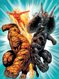 Black Panther No.1 Group: Black Panther, Thing, Storm and Human Torch Print