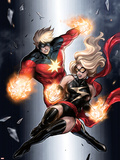 Ms. Marvel No.49 Cover: Ms. Marvel and Captain Marvel Plastic Sign by Sana Takeda