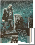 Secret Warriors No.24: Nick Fury Standing in the Rain at Night by a Tombstone Wood Print by Alessandro Vitti