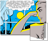 Marvel Comics Retro: Love Comic Panel, Alone at Window under Moonlight Prints