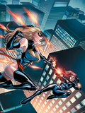 Black Widow & The Marvel Girls No.3 Cover: Ms. Marvel and Black Widow Plastic Sign by Salvador Espin