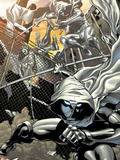 Heroes for Hire No.3: Moon Knight Jumping Plastic Sign by Brad Walker