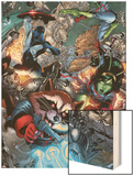 Guardians Of The Galaxy No.8 Group: Rocket Raccoon, Major Victory, Bug and Mantis Wood Print by Brad Walker