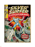 Marvel Comics Retro: Silver Surfer Comic Book Cover No.18, Against the Unbeatable Inhumans! (aged) Plastic Sign