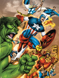 Onslaught Reborn No.5 Cover: Captain America, Hulk and Iron Man Plastic Sign by Rob Liefeld