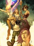 Runaways No.1 Cover: Dean, Karolina, Minoru, Nico, Hayes, Molly, Stein, Chase and Runaways Wall Decal by Jo Chen