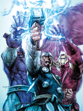 Iron Man/Thor No.4 Cover: Thor, Iron Man, and High Evolutionary Combining Energy Forces Plastic Sign by Stephen Segovia