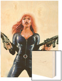 Black Widow No.6 Cover: Black Widow Wood Print by Sean Phillips