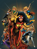 The Official Handbook Of The Marvel Universe: The Women of Marvel 2005 Cover: Spider Woman Charging Plastic Sign by Greg Land