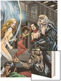 Heroes For Hire No.7 Group: Black Cat, Knight, Misty, Tarantula, Shang-Chi, Wing and Colleen Wood Print by Al Rio