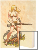 Shanna, The She-Devil No.4 Cover: Shanna The She-Devil Wood Print by Frank Cho