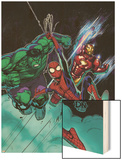 Free Comic Book Day No.1 Cover: Spider-Man, Iron Man and Hulk Wood Print by David Nakayama