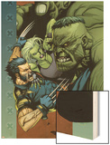 Ultimate Wolverine vs. Hulk No.4 Cover: Wolverine, Hulk and She-Hulk Wood Print by Leinil Francis Yu