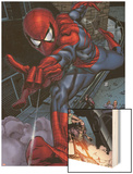 Heroes For Hire No.6: Spider-Man Swinging Wood Print by Brad Walker