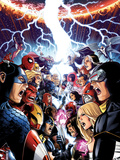 Avengers Vs. X-Men No.1 Cover: Captain America, Cyclops, Emma Frost, Gambit and Others Screaming Plastic Sign by Jim Cheung