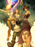 Runaways No.1 Cover: Dean, Karolina, Minoru, Nico, Hayes, Molly, Stein, Chase and Runaways Plastic Sign by Jo Chen