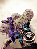 Hawkeye: Blindspot No.2 Cover: Hawkeye and Captain America Fighting Plastic Sign by Mike Perkins