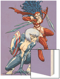 New Mangaverse No.3 Cover: Black Cat and Elektra Wood Print by Tommy Ohtsuka