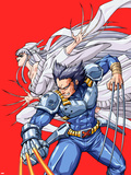 New Mangaverse No.2 Cover: Wolverine and Lady Deathstrike Fighting Plastic Sign by Tommy Ohtsuka