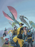 House of M MGC No.1 Cover: Wolverine, Cyclops, Gambit, Spider-Man, Captain America and Others Wall Decal by Esad Ribic