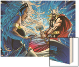 Black Panther No.25 Cover: Thor and Storm Wood Print by Michael Turner