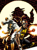 Power Man and Iron Fist No.2 Cover: Power Man and Iron Fist Crouching Plastic Sign by Mike Perkins