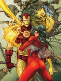 Astonishing Tales No.3 Cover: Spider Woman and Iron Man Plastic Sign by Kenneth Rocafort