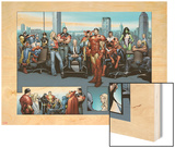 House of M MGC No.1: Captain America, Carol Danvers, Wonder Man, Professor X, Iron Man and Others Wood Print by Olivier Coipel