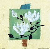 Magnolias on Greenbeige Papyrus Posters by Alfred Gockel