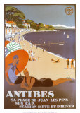 Antibes Print by Roger Broders