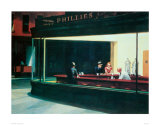 Nachtbrakers, Nighthawks, ca.1942 Kunst van Edward Hopper