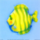 Green Striped Fish Poster by Anthony Morrow