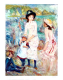 Children on the Seashore Print by Pierre-Auguste Renoir